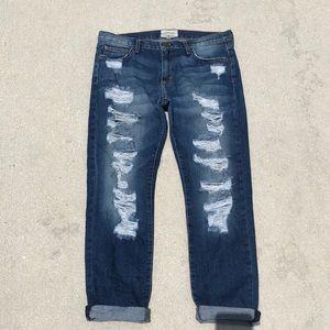 Current/Elliott slim cropped boyfriend denim jeans